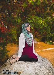 Sarah (Addam Media) Tags: hijab hijabi fall autumn forest park sunset leaves portrait