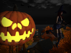 Flying Her Broom (StarryPoo) Tags: secondlife sl avatar photography witch jackolantern halloween pumpkins