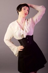 IMG_2722 (Neil Keogh Photography) Tags: white black stockings female highheels gothic skirt blouse heels glam suspenders burlesque laces corsets studioshoot stockingssuspenders modelzoe