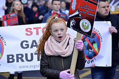Right 2 Water Protest, Dublin. (Mark Waldron) Tags: pink ireland red dublin girl hair december unity protest gloves 10th republican placard 2014 right2water republicanunityorg