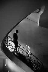 the visitor (pix-4-2-day) Tags: rosenhöfe berlin germany hackesche treppe silhouette raucher smoker man mann stairs staircase down banister geländer black white schwarzweis pix42day stairway