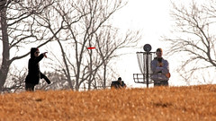 Disc On Its Way (jrussell.1916) Tags: winter red sports kansascity discgolf shawneemissionpark canon400mmf56lusm