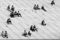 Public Realm Picnics (DobingDesign) Tags: city people urban blackandwhite paris france stairs lunch picnic random pigeons steps citylife streetphotography lunchtime financialdistrict publicrealm humans ladfense breaktime cityworkers