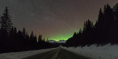 A Touch of Aurora (Sandra Herber) Tags: winter snow canada alberta banff northernlights auroraborealis banffnationalpark icefieldsparkway