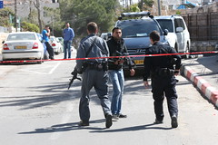 Jerusalem Israel 6.03.2015  TR_08456 (Thomas Rossi Rassloff) Tags: man car by training four close with palestine wounded jerusalem border guard attack security part terror his after them taking seriously injured shortly bystander palestinian policewomen severely rammed a