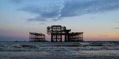 West Pier in the fading light (susie2778) Tags: brighton sunset sky olympus omdem1 17mmf18 sea westsussex westpier clouds