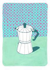 Coffee Pot with Wallpaper (green) (The Wallpaper Files) Tags: art print digitalprint coffeepot wallpaper stilllife pink green mint fuchsia