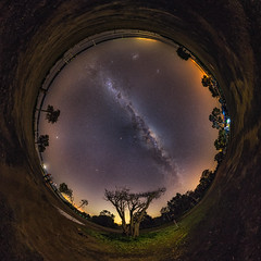 Herron Point Eye (Astronomy*Domine) Tags: herron point night nightscape astrophotography astronomy astro sky milkyway canon 6d samyang 14mm stereographic little planet nik color efex tree lightpainting perth westernaustralia mandurah