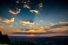 Ilkley Sunset! (dazzbo1) Tags: sun dramatic skies colour amazing ray rays ilkley moor yorkshire uk view cloud beautiful serene tranquil formation light cowcalf cow calf tree valley town landscape fields