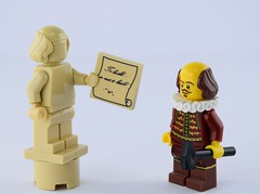 Shakespeare statue (Alex THELEGOFAN) Tags: lego the movie shakespear hammer to build or not classic tv series batcave tan statue monochrome