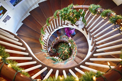 Spiral Stairs at Lusscroft Farms (John Prause) Tags: lusscroft farms wantage sussexcounty nj jersey newjersey northjersey stairs spiral staircase christmas decorations lighting winter 2015 garland