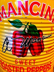 Roasted Peppers (mccs_10) Tags: stripe logo graphics yellow red food canned inacan