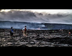 Lava Chasing (basselal) Tags: 100xthe2016edition 100x2016 bigisland image18100 lavarocks hawaii hiking lava people smoke