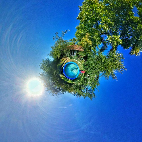 My pool from above #tinyplanet #picoftheday #photooftheday #instagood #instamood #sky #sun #tree #pool #summer2016 #water #bulgaria #villa #paradise