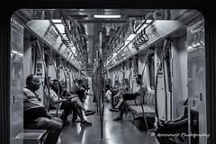 Underground 4 (`ARroWCoLT) Tags: street sokak people summer samsung nx mini nxm istanbul photography dof outdoor siyahbeyaz art bw blackwhite monochrome black white blackandwhite arrowcolt nxmini perspective pattern vagon cart train underground subway 17mm f18