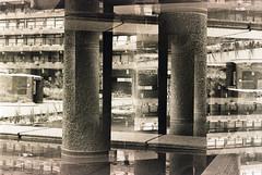 Barbican001 (Alistair Peck) Tags: doubleexposure ilford xp2super canona1 canonfd canonfd50mm 50mm film analogue blackandwhite surreal dream expressionist barbican london urban brtutalism escher