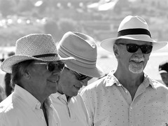 The band of the smiling hats (patrick_milan) Tags: noiretblanc blackandwhite noir blanc monochrome nb bw black white street rue people personne gens streetview homme man smile beautiful portrait face candide