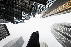 Upside-Down Downtown (Underground Joan Photography) Tags: urban torontofinancialdistrict skyscrapers cityscape toronto modern architecture city