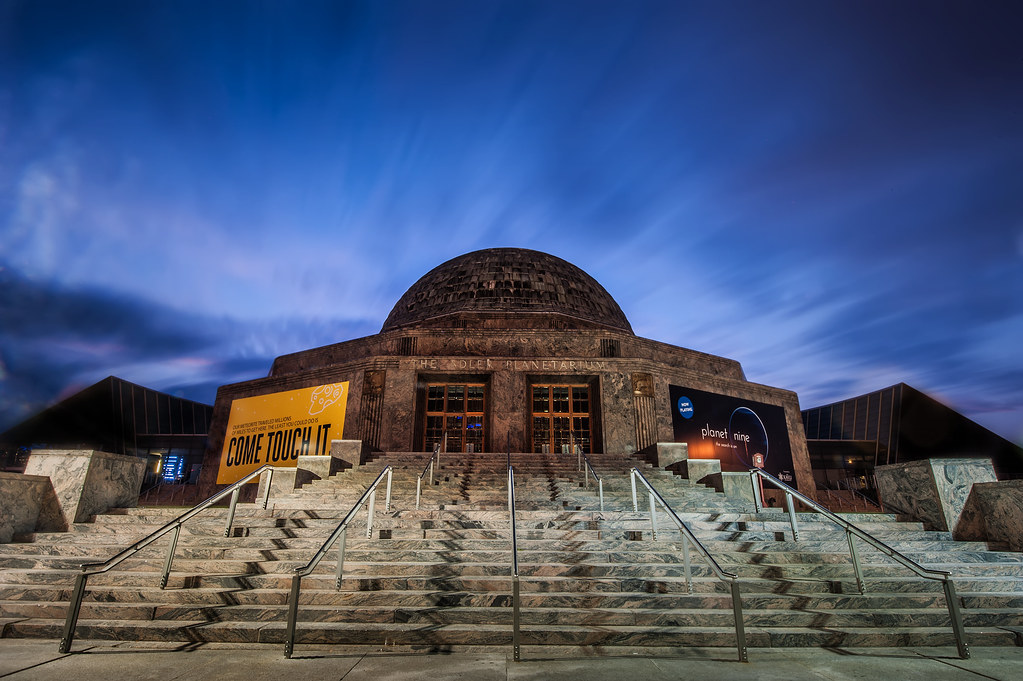 An 88 second exposure of the Adler Planetarium during sunrise early Friday morning.