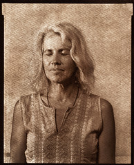 Suzy, eyes closed (westvillagebob) Tags: 8x10 film portrait view camera albumen albuwomen alternative suzy kunz grayhaired
