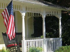 May All Your Laboring Be Not In Vain.....   ( Labor Day 2016 ) (~ Cindy~) Tags: oldglory frontporchview rockingchairs redwhiteandblue noworktoday smalltownlife rockwood tennessee october 2015