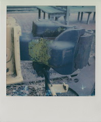 Drawbar (DavidVonk) Tags: vintage instant analog film polaroid slr680 impossibleproject railroad train drawbar knuckle lichen moss mossy rusty coupler