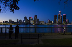 Admiring The View. Windsor, ON. (Pat86) Tags: nikond7000 photooftheday windsor detroit detroitriver skyline blue sunset man woman waterfront
