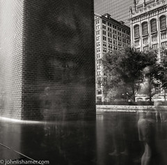 Fountainhead (johnlishamer.com) Tags: 120 2016 6x6 crownefountain fujiacros fujiacros100 laborday lishamer mamiya55 mamiyac220professional mamiyac220professionaltlr michiganave milleniumpark photoexif sekor55mmf45 chicagoil city cloudgate film johnlishamercom longexposure mediumformat people rodinal summer summertime thebean tlr twinlensreflex urban water