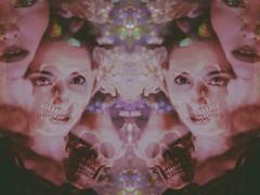 (emmakatka) Tags: skull skeleton doubleexposure creepy dark symmetry emmakatka bokeh rainbow eerie technicolor glow holographic iridescent northdakota art eyes mouth teeth