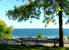 Have a seat and look at Lake Ontario (Trinimusic2008 - stay blessed) Tags: trinimusic2008 judymeikle nature bench hbm park outdoors toronto to ontario canada lakeontario lake water bushes tree