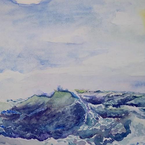 ▪I started to draw #sea  and #waves )▪Пробую рисовать #море и #волны .  Пока  только начало процесса)#🌊?#instadetails  #process_of_creativity #акварель #голубой #волна #green#violet #рисунокотруки #blue #aquarelle #landscape #морской #инстаграмнедел