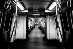 Metro in Bucharest, Romania (Explored: 23-10-2016 GTM 10:25) (Chacky) Tags: this was took bucharest romania last stop yellow metro line europe subway train symmetrical symetrical symmetry blackandwhite bw black bucuresti station transportation city capital dristory monochrome vanishingpoint vanishing