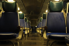 an empty wagon (vimad97) Tags: train treno wagon vagone italia italy benevento canon 550d 18135 is eos shadows ombre atmosphere atmosfera seats sedili yellowish giallastro galleria tunnel alone solo empty vuoto vimad
