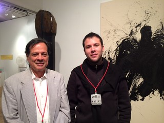 Luis Angel Parra and his son Santiago with his artwork at their galleria Sextante from Bogotá at Pinta Miami