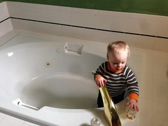 """Paul Gets into Grandma and Grandpa Morton's Tub • <a style=""""font-size:0.8em;"""" href=""""http://www.flickr.com/photos/109120354@N07/15933770877/"""" target=""""_blank"""">View on Flickr</a>"""