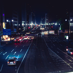 exhausted/exited (itawtitaw) Tags: street bridge color cars lines japan night dark square lights colorful glow shadows streetlamp snapshot symmetry hiroshima clear lookdown busstation 30mm sigma30mm14 canoneos60d