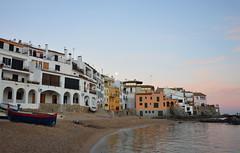Port Bo (angelsgermain) Tags: houses sea sky beach boats evening sand rocks catalonia moonlight catalunya archway calelladepalafrugell baixempordà portbo mediterraneansesvoltes