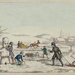 Winter activities in a Canadian town: sleighing, skating, and making a snowman / Activités hivernales dans une ville canadienne : du traîneau, du patin et un bonhomme de neige thumbnail
