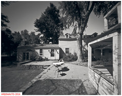 Residences  back porch (DelioTO) Tags: summer ontario canada architecture rural blackwhite woods doors trails july pinhole historical 4x5 toned d23 autaut f175 panx100