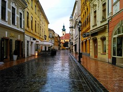 rainy day (Gabriel Kay) Tags: beautiful charmed empty rainy wet street alley cloudy rain city downtown gyr hungary cobblestones cobble architecture house building baroque