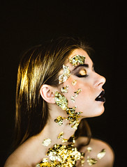 Growing Gold (Dexter Storey) Tags: portrait people white girl beautiful studio gold grey golden leaf model paint sony creative ellie future attractive storey alpha conceptual weeks dexter futuristic 52 aesthetic ricker a7rii a7r2