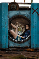 Fien in a machine (Martijn Courteaux) Tags: portrait people woman abandoned girl industrial factory machine machinery
