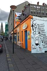 Cafe Babalu (AntyDiluvian) Tags: iceland reykjavik skólavörðustígur street hallgrímskirkja church cafe restaurant babalu colorful