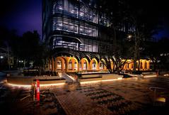 Melbourne Uni Arts West by Night (Ben_Tole) Tags: artswest unimelb melbourneuniversity architecture facade steel cloisters grc armarchitecture melbournearchitecture night longexposure