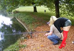 A1 jon gets advice on fishing (team stalker) Tags: sexy woman milf stockings pvc shiny panties sexylegs blonde fishnets boots satin carp fishing lake carpie