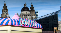 Lunchtime, Donuts, Great (stephenbryan825) Tags: albertdock liverpool mannisland portofliverpoolbuilding royalliverbuilding buildings contrast dome donuts doughnuts midday selects threegraces