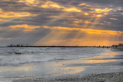 Galveston-Sunset-2014 (Ray Devlin) Tags: texas lonestarstate gulfofmexico coastaltexas coastal usa america shoreline sea galvestonisland galveston sunset silhouette clouds rays sun rayofshine shadows rock jetty groin beach coast seaside