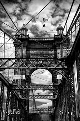 John A Roebling Bridge (Emily Kistler) Tags: america d750 midwest nikon ohio outdoors usa unitedstates suspensionbridge bridge sky clouds bw blackandwhite travel cincinnati architecture johnaroeblingbridge
