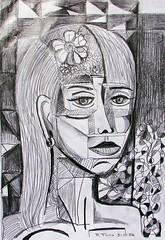 DSC03572 Woman with flowers (Rodolfo Frino) Tags: art artistic pencil workonpaper pencilwork drawing rendering modernart portraitofawoman illustration monochome bw