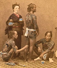 Bettoes resting in Tea House ca1865 (SSAVE w/ over 6.5 MILLION views THX) Tags: japan ca1870 lifestyle domesticscenes japanesepeople fundoshi bettoes horsegrooms underwear geisha teahouse